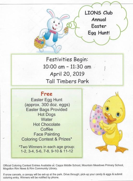 2019 Lions Annual Easter Egg Hunt
